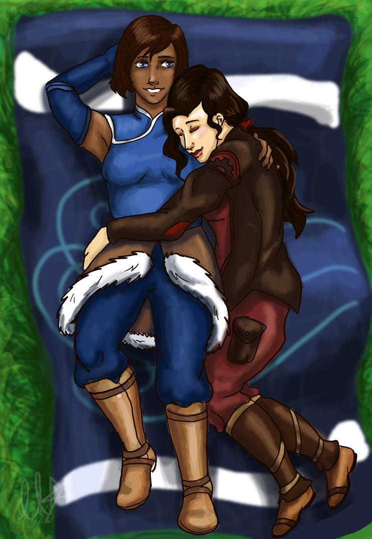 Korra and Asami Cuddles by ChristianKitsune
