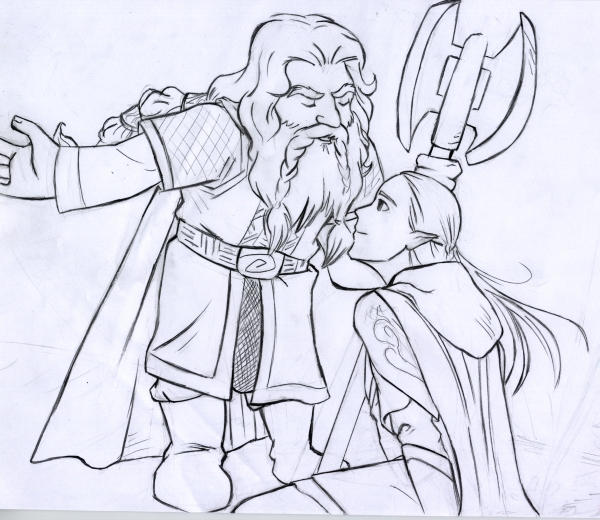 Gimli and Legolas at H.D. by EmberRoseArt