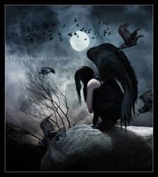 Raven in a moonlit night by EmberRoseArt