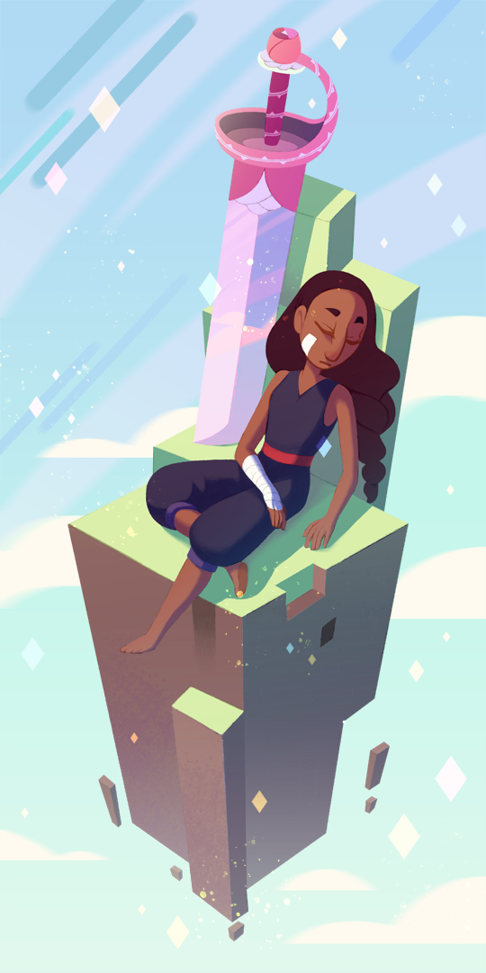 I'd love to do more Steven Universe fan art. Such a lovely show. Anyway, here's Connie taking a break from sword fighting. Steven Universe and Connie © Cartoon Network