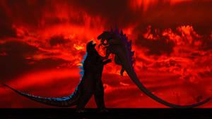 Godzilla 1998 vs. Godzilla 2014 by Mechaghostman2