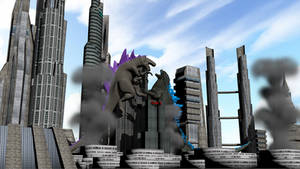 Godzilla 1998 vs. Godzila 2014 by Mechaghostman2