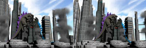 Stereoscopic Godzilla vs. Zilla by Mechaghostman2