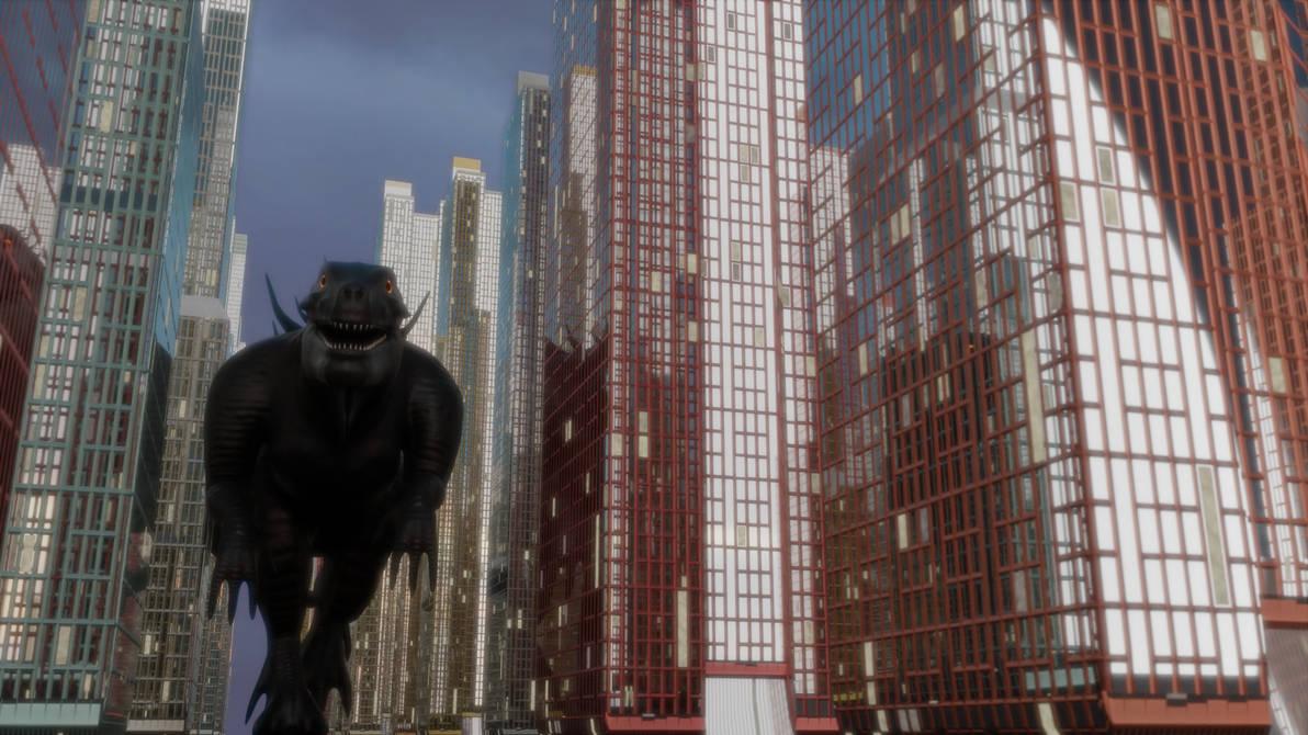 Godzilla 98 in City by Mechaghostman2