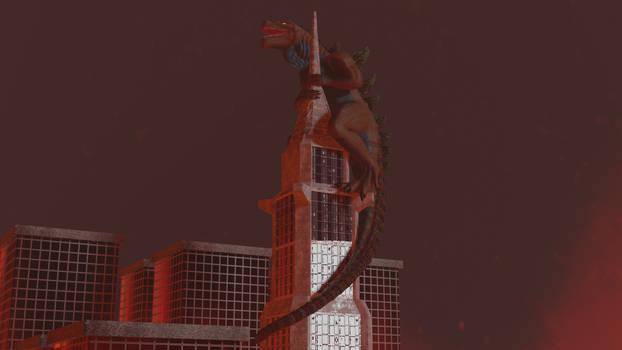 Godzilla 1998 on Building