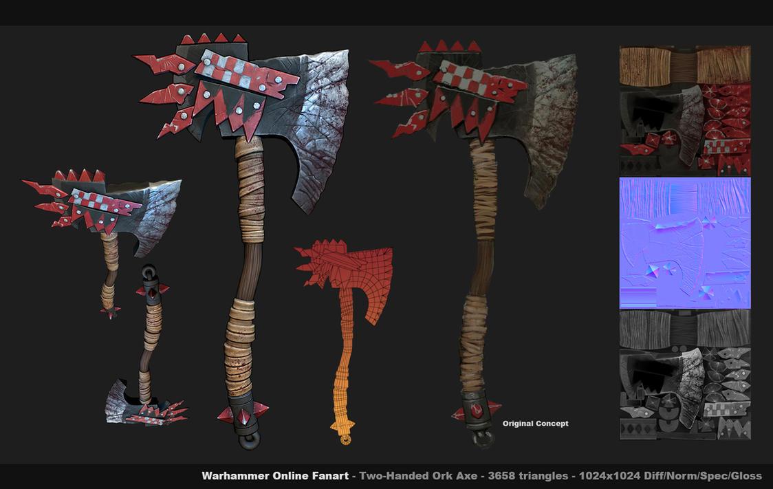 Warhammer Fanart Ork Axe by Texelion