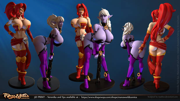 Syx and Red figurines