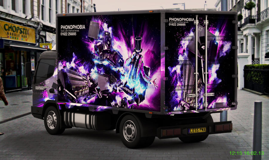 Phonophobia Lorry Branding Example by squiffythewombat