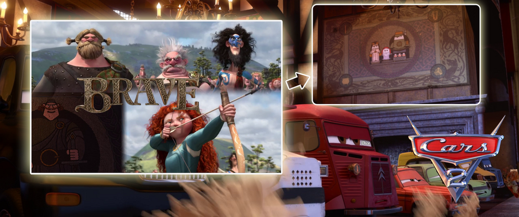 Pixar Brave easter egg in Cars 2 found by perbrethil