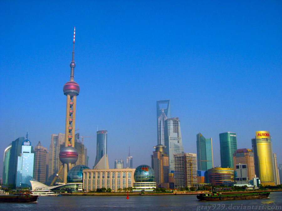 Shanghai from across the Water by gray929