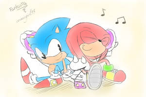 Knux loves MUSIC! by cosmicgirl95