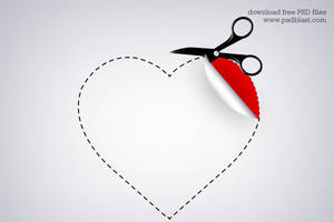 Valentine heart shaped sticker by psdblast