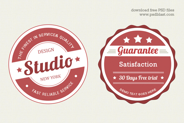 Vintage Web Badge PSD by psdblast