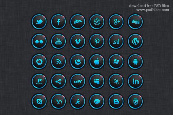 30 Free Social Media Icon Set by psdblast