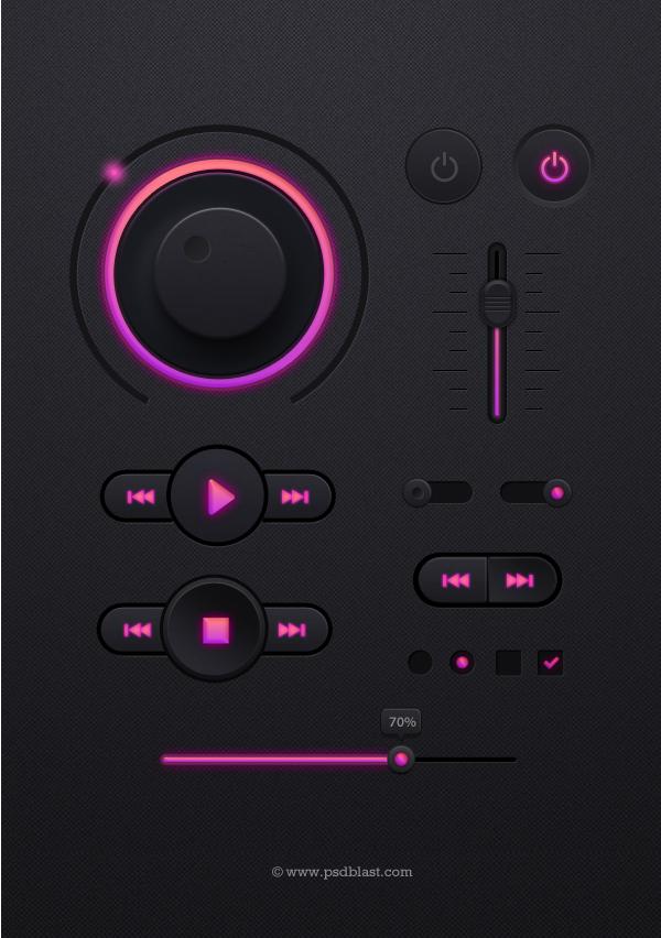 Music Player UI kit PSD