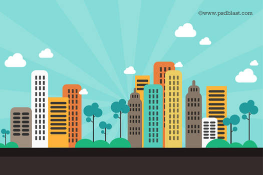 Flat Color Abstract City Background (PSD)
