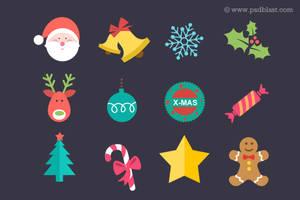Flat Christmas Icon Set (PSD)