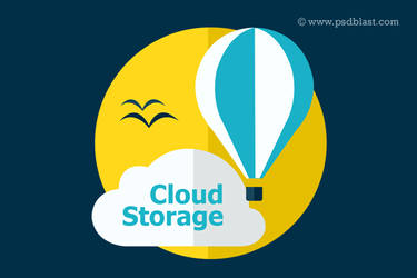 Flat Cloud Storage Icon (PSD)