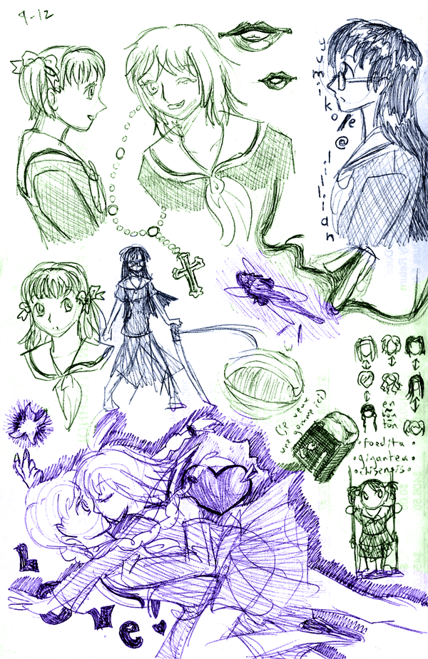 Lillian sketchpile by ErinPtah