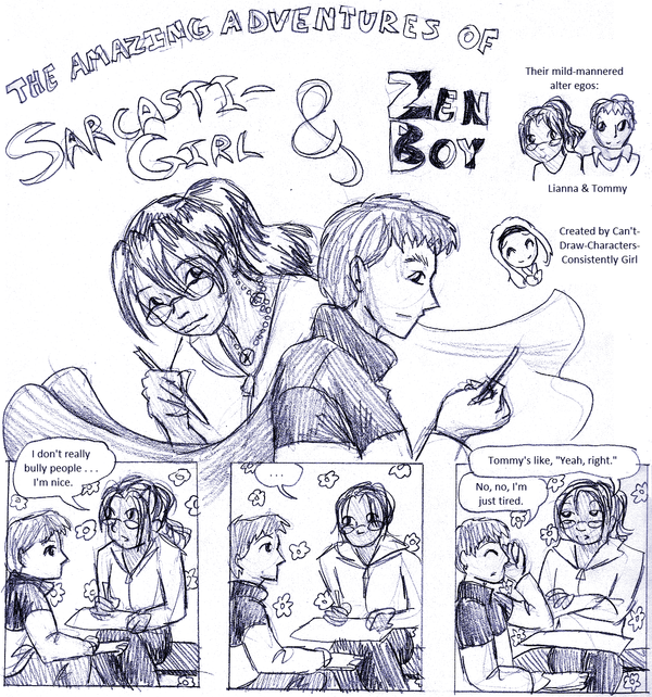 SarcastiGirl and Zen Boy by ErinPtah