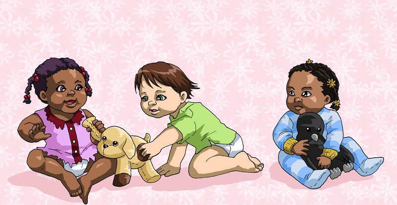 Babies and Plushies by ErinPtah