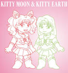 Kitty Moon and Kitty Earth by ErinPtah