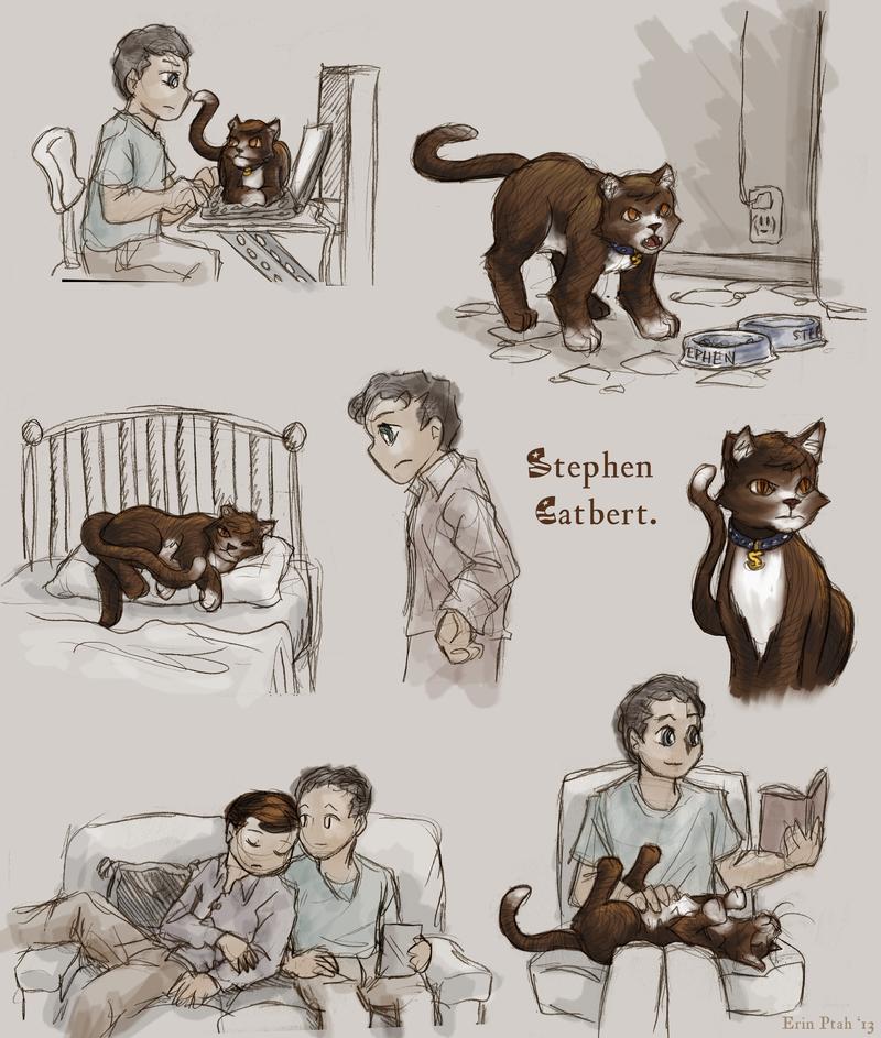 Illustrations of Jon and cat!Stephen.