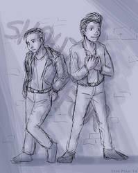 Sketch - Teens in Leather by ErinPtah