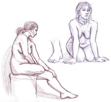 Figure drawings 12-22-16 -NSFW- by ErinPtah