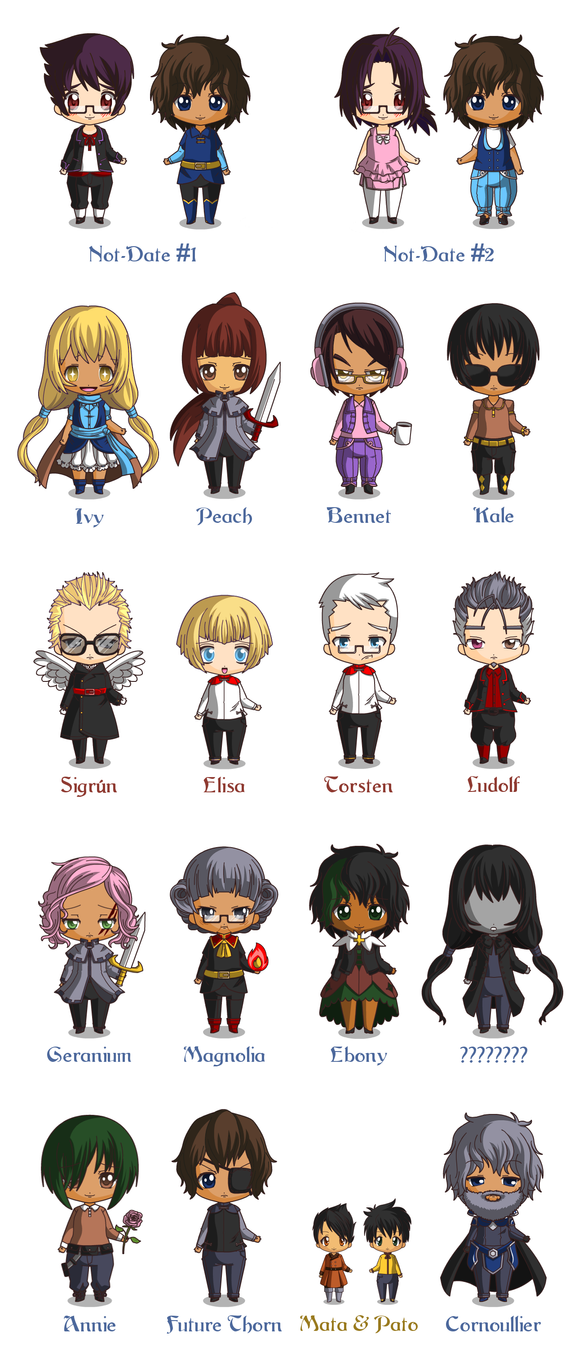 Leif and Thorn Chibi Ensemble, stage 2 by ErinPtah