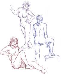 Figure drawings 2-11-17 -NSFW- by ErinPtah