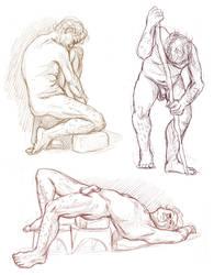 Figure drawings 7-9-17 -NSFW- by ErinPtah