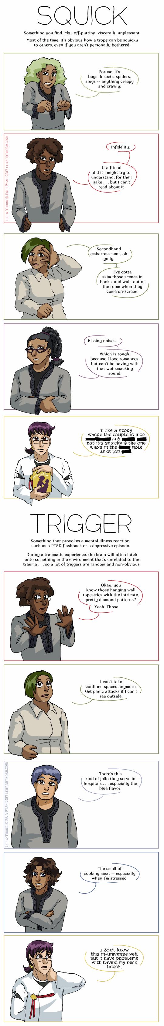 Squicks vs. Triggers