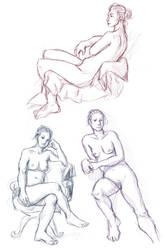 Figure drawings 7-30-17 -NSFW- by ErinPtah