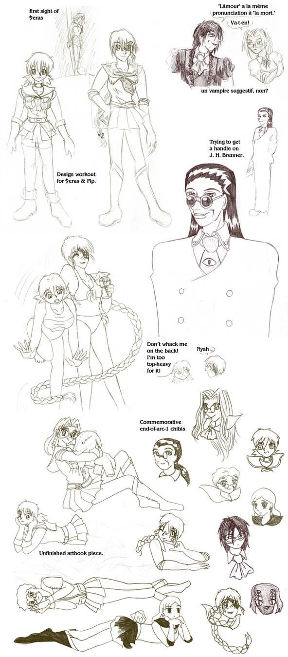 Vintage - Sailor Hellsing sketchpile by ErinPtah