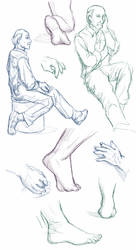 Figures, Hands, and Feet 10-7-17 by ErinPtah