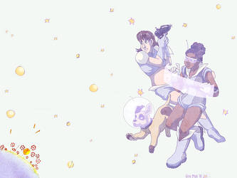 Wallpaper - Retro Space Babes by ErinPtah