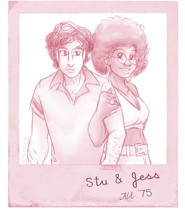 '70s AU Jess and Stu by ErinPtah