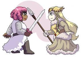 Legendary Goddess-Hero Standoff by ErinPtah