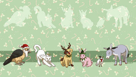 Wallpaper - Christmas Critter Costumes by ErinPtah