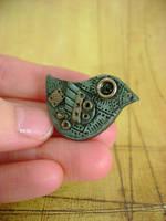 Lil' Turquoise Birdie Pin by monsterkookies