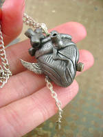 Winged Antique Silver Heart - Back by monsterkookies