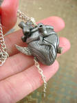 Winged Antique Silver Heart - Back
