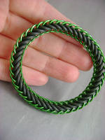 Black and Green Stretch Bracelet by monsterkookies