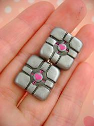 Companion Cube Cufflinks by monsterkookies