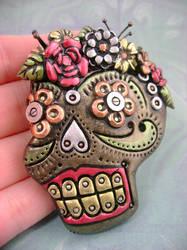 Metallic Sugar Skull by monsterkookies