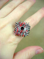 Bloody Square Saw Blade Ring by monsterkookies