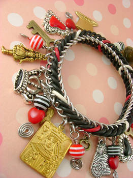Alice In Wonderland Chainmaille Charm Bracelet