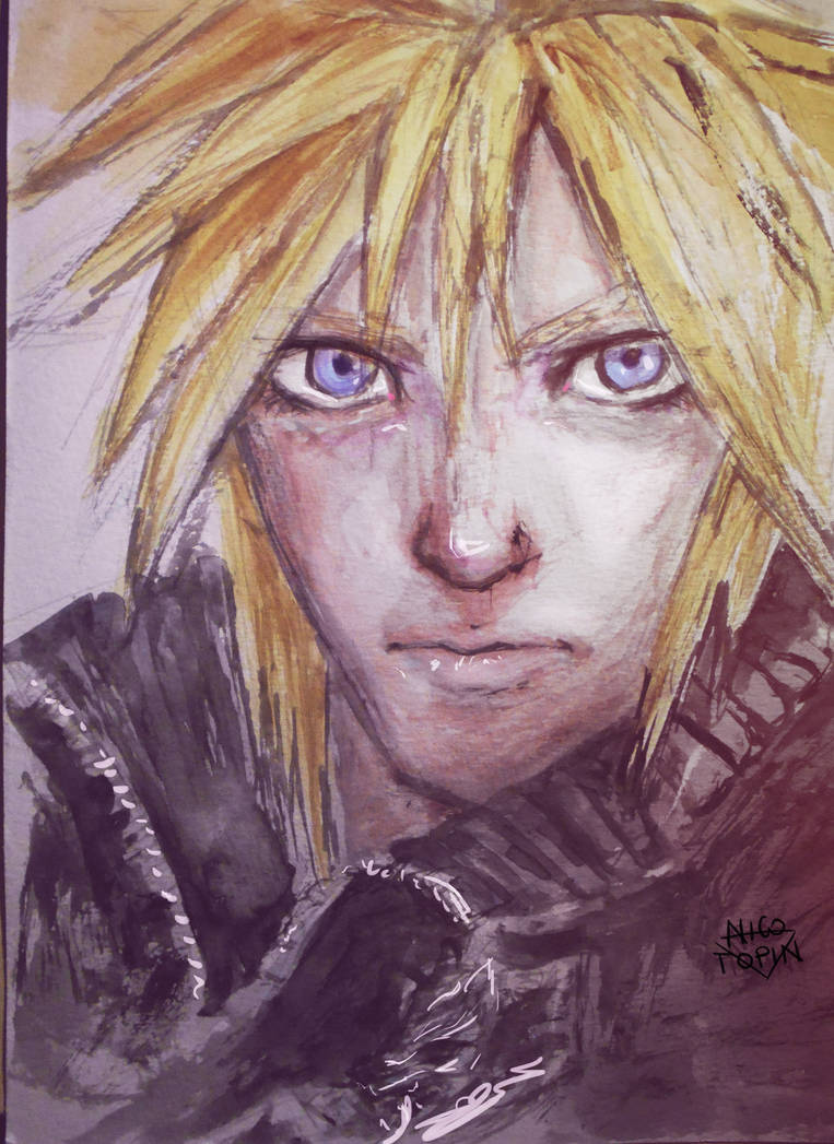 Cloud Strife Watercolor By Nicotopin2 On Deviantart