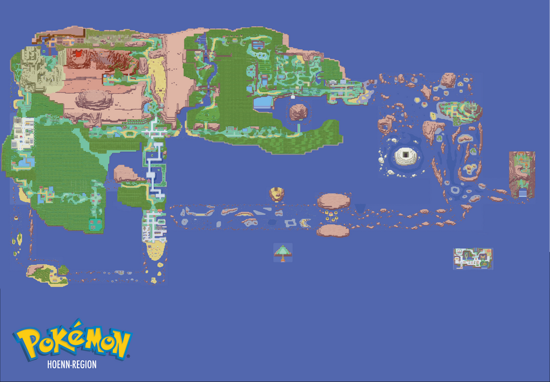 map of the pokemon hoenn region by jaymatson on deviantart